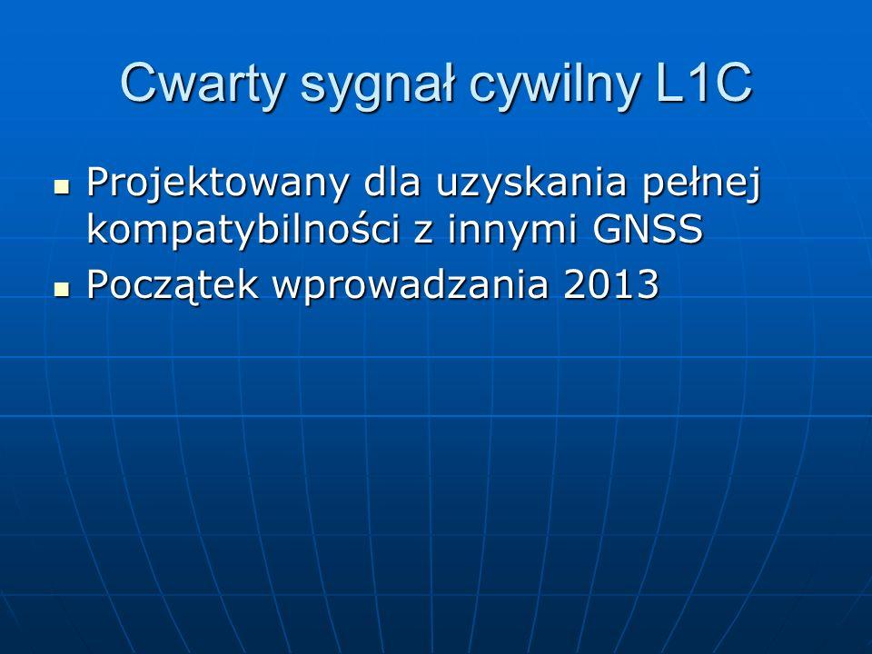 Cwarty sygnał cywilny L1C Projektowany dla uzyskania pełnej kompatybilności z innymi GNSS Projektowany dla uzyskania pełnej kompatybilności z innymi G