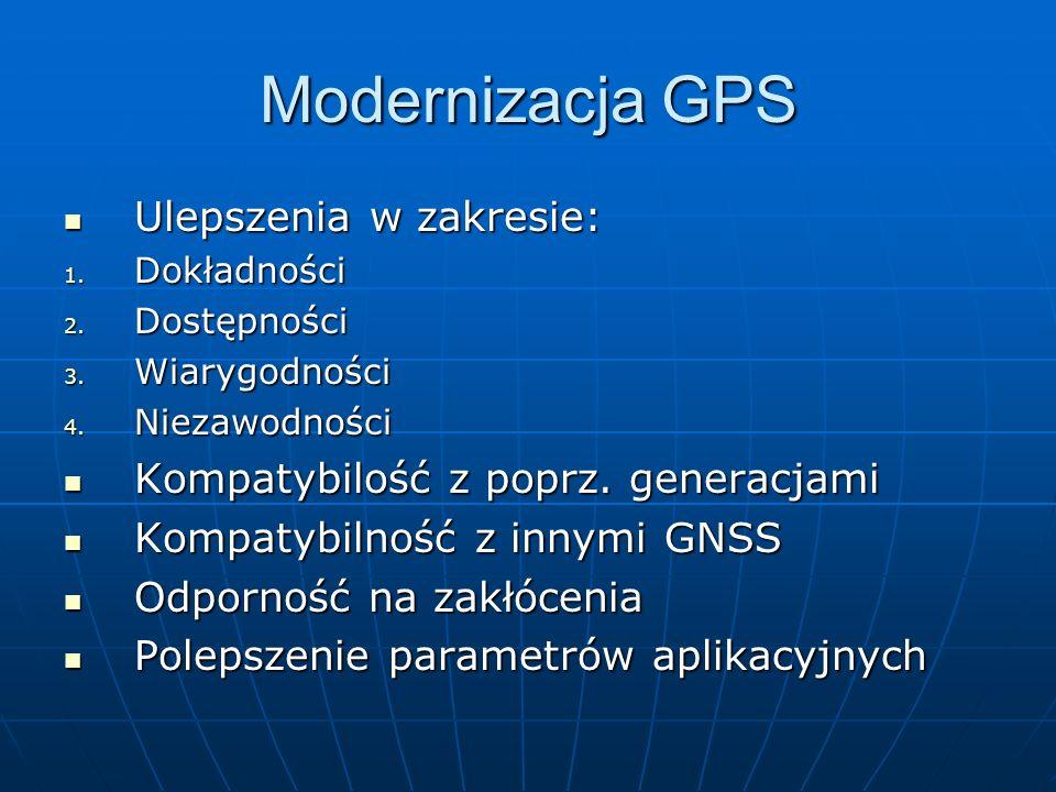 Modernizacja GPS Ulepszenia w zakresie: Ulepszenia w zakresie: 1. Dokładności 2. Dostępności 3. Wiarygodności 4. Niezawodności Kompatybilość z poprz.