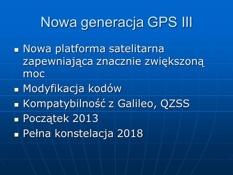 Nowa generacja GPS III Nowa platforma satelitarna zapewniająca znacznie zwiększoną moc Nowa platforma satelitarna zapewniająca znacznie zwiększoną moc
