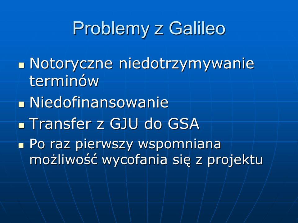 Problemy z Galileo Notoryczne niedotrzymywanie terminów Notoryczne niedotrzymywanie terminów Niedofinansowanie Niedofinansowanie Transfer z GJU do GSA