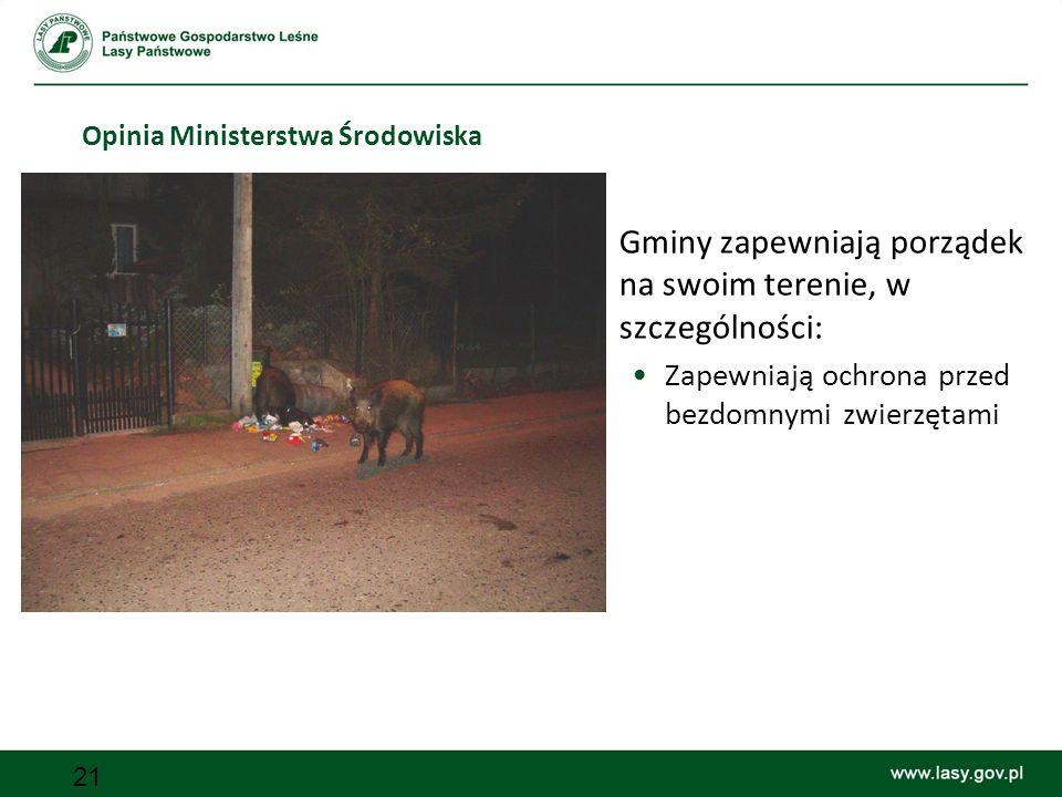 21 Opinia Ministerstwa Środowiska Gminy zapewniają porządek na swoim terenie, w szczególności: Zapewniają ochrona przed bezdomnymi zwierzętami