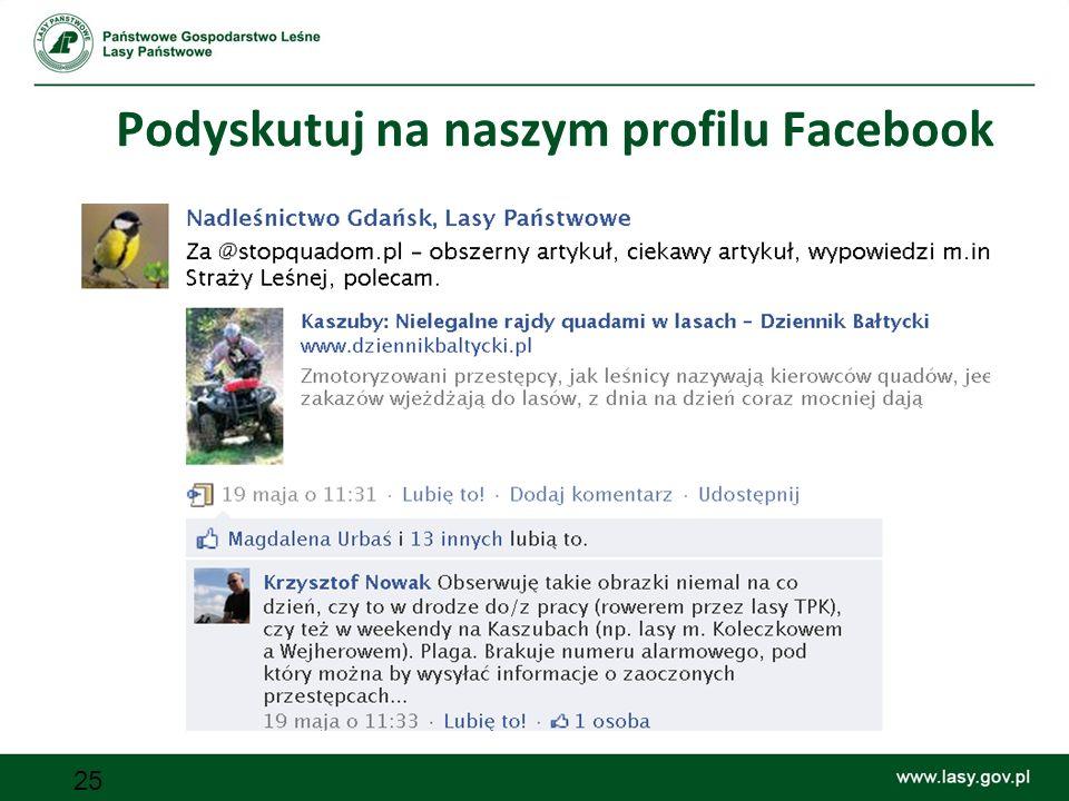 25 Podyskutuj na naszym profilu Facebook