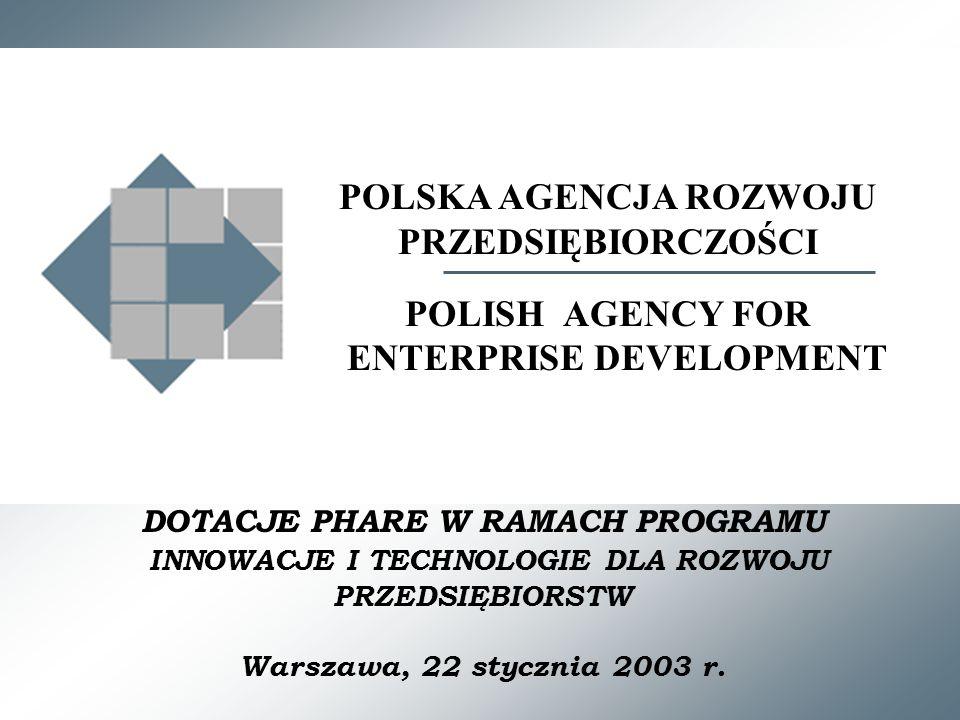 DOTACJE PHARE W RAMACH PROGRAMU INNOWACJE I TECHNOLOGIE DLA ROZWOJU PRZEDSIĘBIORSTW Warszawa, 22 stycznia 2003 r.