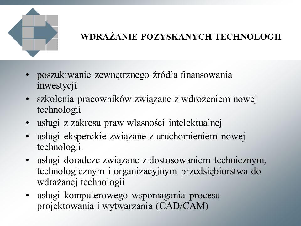 WDRAŻANIE POZYSKANYCH TECHNOLOGII poszukiwanie zewnętrznego źródła finansowania inwestycji szkolenia pracowników związane z wdrożeniem nowej technologii usługi z zakresu praw własności intelektualnej usługi eksperckie związane z uruchomieniem nowej technologii usługi doradcze związane z dostosowaniem technicznym, technologicznym i organizacyjnym przedsiębiorstwa do wdrażanej technologii usługi komputerowego wspomagania procesu projektowania i wytwarzania (CAD/CAM)
