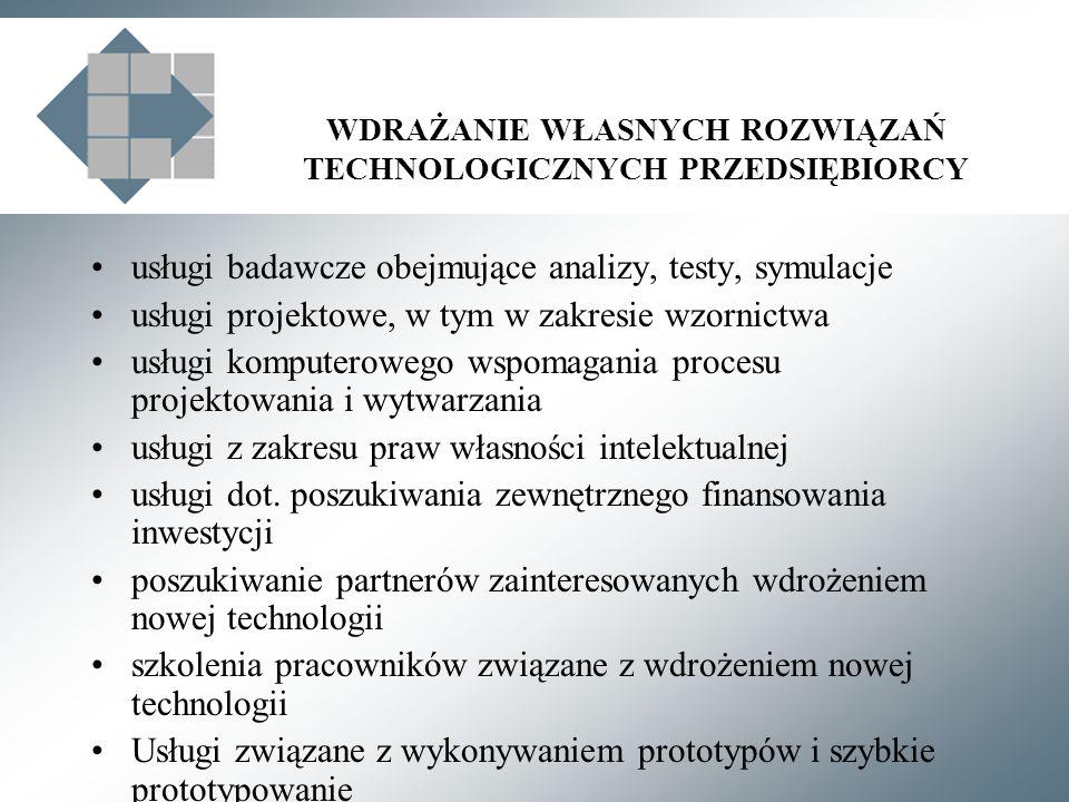WDRAŻANIE WŁASNYCH ROZWIĄZAŃ TECHNOLOGICZNYCH PRZEDSIĘBIORCY usługi badawcze obejmujące analizy, testy, symulacje usługi projektowe, w tym w zakresie wzornictwa usługi komputerowego wspomagania procesu projektowania i wytwarzania usługi z zakresu praw własności intelektualnej usługi dot.