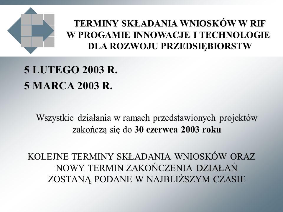TERMINY SKŁADANIA WNIOSKÓW W RIF W PROGAMIE INNOWACJE I TECHNOLOGIE DLA ROZWOJU PRZEDSIĘBIORSTW 5 LUTEGO 2003 R.