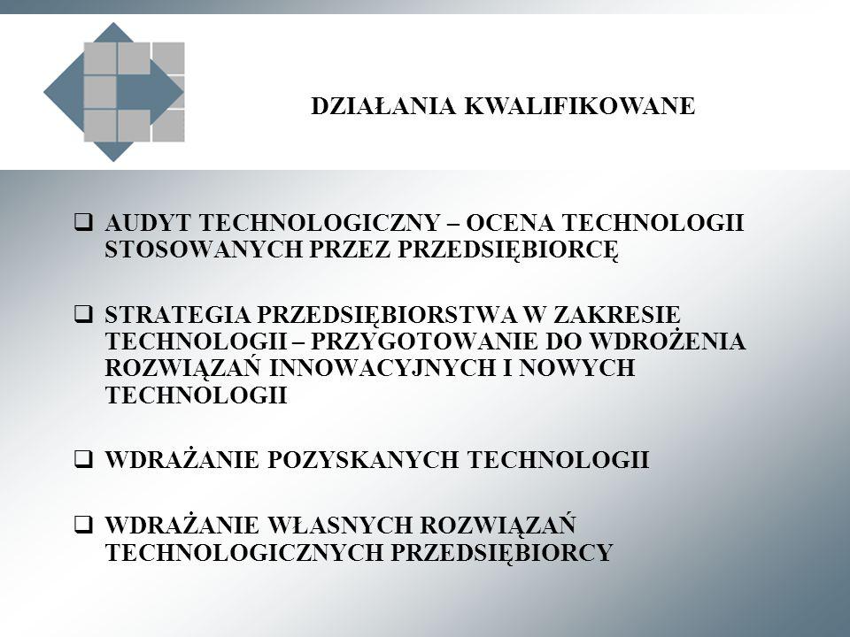 DZIAŁANIA KWALIFIKOWANE AUDYT TECHNOLOGICZNY – OCENA TECHNOLOGII STOSOWANYCH PRZEZ PRZEDSIĘBIORCĘ STRATEGIA PRZEDSIĘBIORSTWA W ZAKRESIE TECHNOLOGII – PRZYGOTOWANIE DO WDROŻENIA ROZWIĄZAŃ INNOWACYJNYCH I NOWYCH TECHNOLOGII WDRAŻANIE POZYSKANYCH TECHNOLOGII WDRAŻANIE WŁASNYCH ROZWIĄZAŃ TECHNOLOGICZNYCH PRZEDSIĘBIORCY