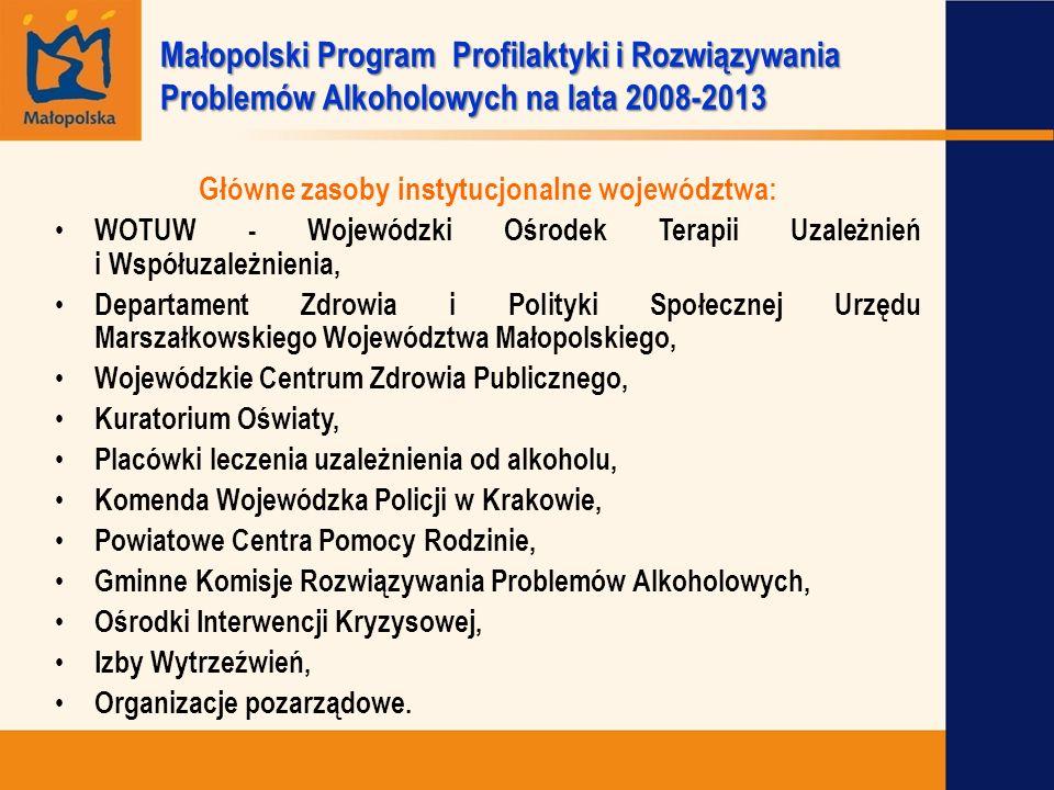 Główne zasoby instytucjonalne województwa: WOTUW - Wojewódzki Ośrodek Terapii Uzależnień i Współuzależnienia, Departament Zdrowia i Polityki Społeczne