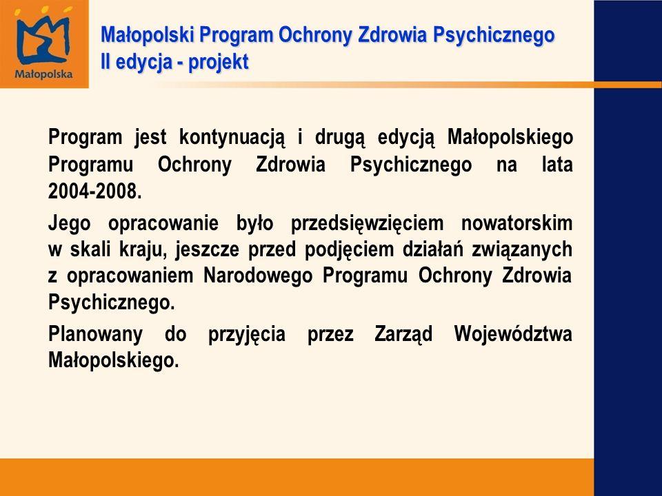 Program jest kontynuacją i drugą edycją Małopolskiego Programu Ochrony Zdrowia Psychicznego na lata 2004-2008. Jego opracowanie było przedsięwzięciem