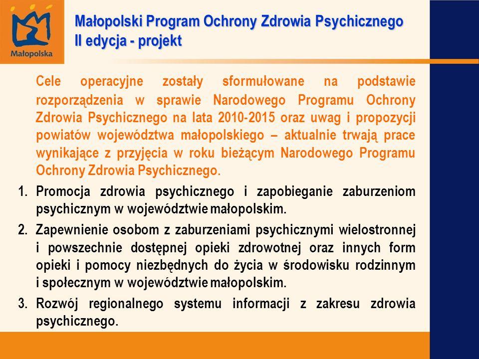 Cele operacyjne zostały sformułowane na podstawie rozporządzenia w sprawie Narodowego Programu Ochrony Zdrowia Psychicznego na lata 2010-2015 oraz uwa