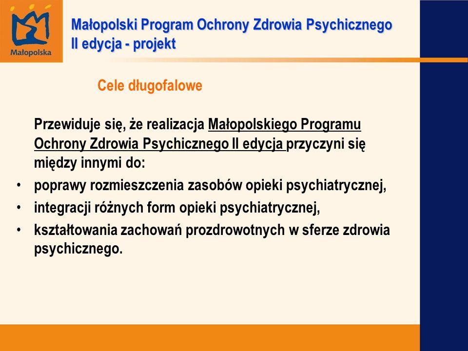 Cele długofalowe Przewiduje się, że realizacja Małopolskiego Programu Ochrony Zdrowia Psychicznego II edycja przyczyni się między innymi do: poprawy r