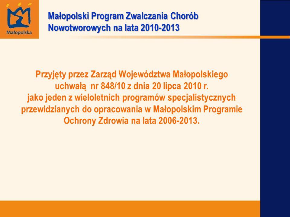 Przyjęty przez Zarząd Województwa Małopolskiego uchwałą nr 848/10 z dnia 20 lipca 2010 r. jako jeden z wieloletnich programów specjalistycznych przewi