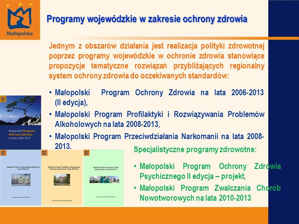 Programy wojewódzkie w zakresie ochrony zdrowia Jednym z obszarów działania jest realizacja polityki zdrowotnej poprzez programy wojewódzkie w ochroni