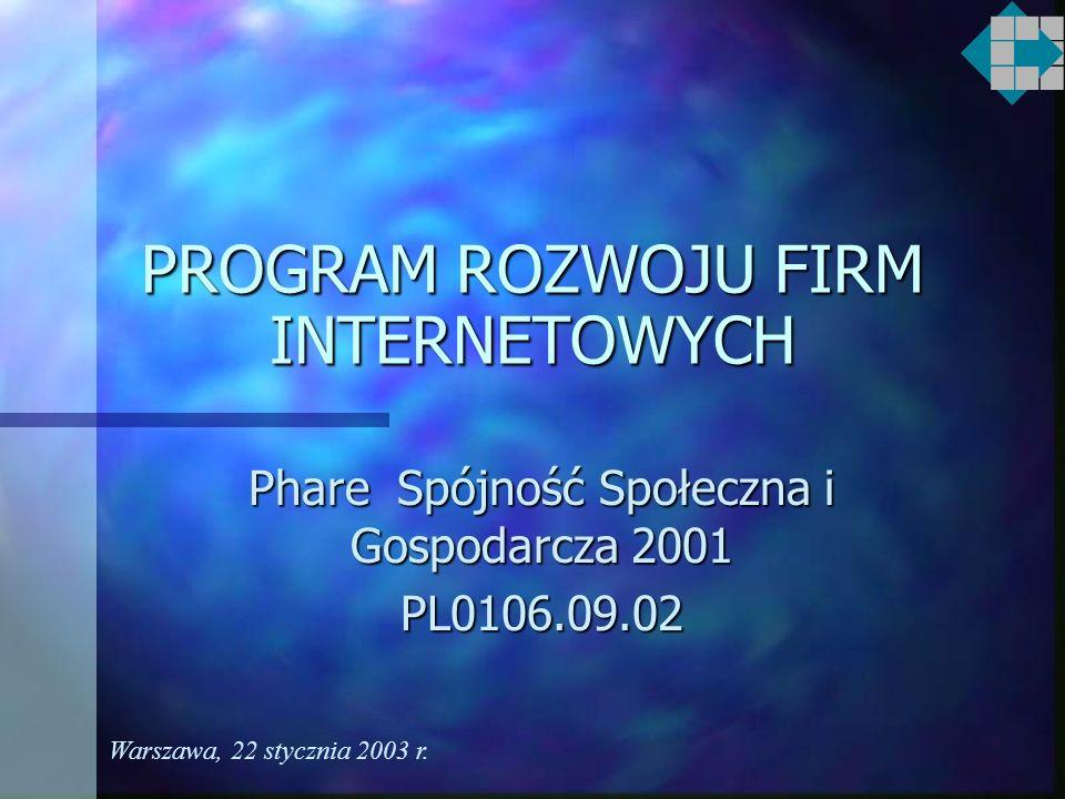 PROGRAM ROZWOJU FIRM INTERNETOWYCH Phare Spójność Społeczna i Gospodarcza 2001 PL0106.09.02 Warszawa, 22 stycznia 2003 r.