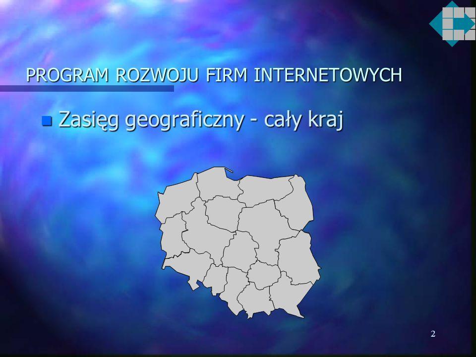 2 PROGRAM ROZWOJU FIRM INTERNETOWYCH n Zasięg geograficzny - cały kraj