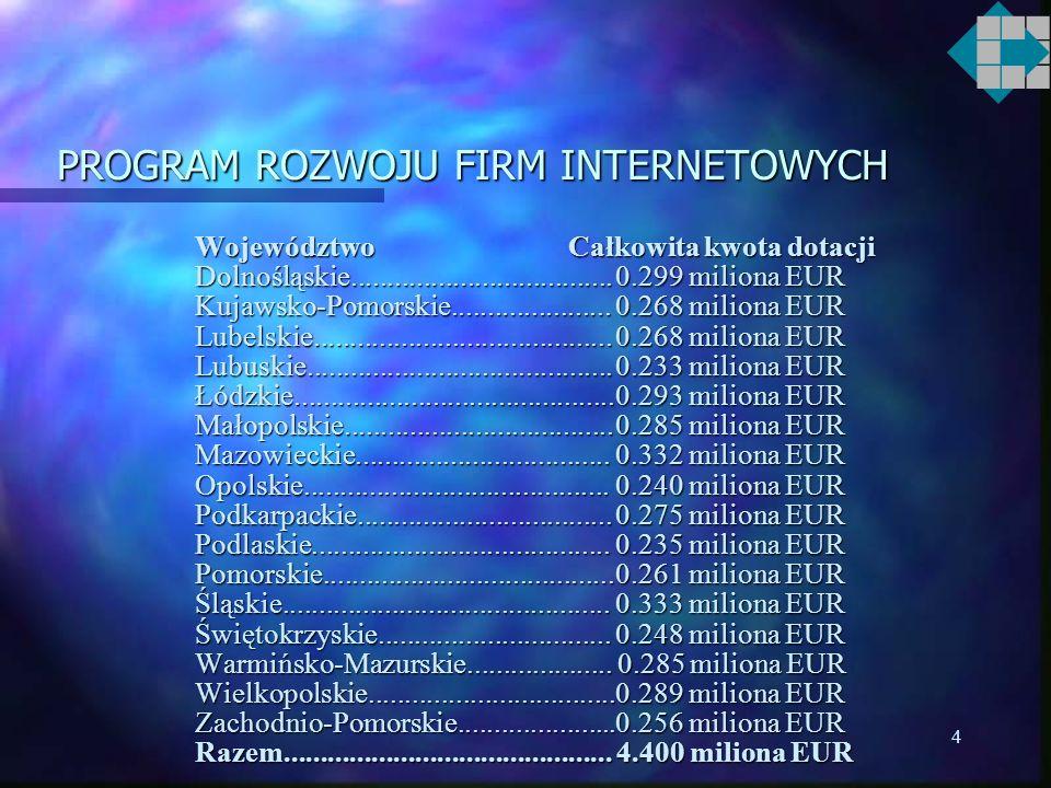 3 PROGRAM ROZWOJU FIRM INTERNETOWYCH n Budżet programu 4,40 miliona euro –Granty doradcze 1,47 miliona euro 1,10 mln euro (Phare) +0,37 mln euro (budż