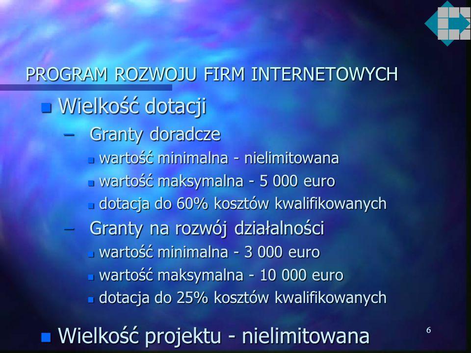 5 PROGRAM ROZWOJU FIRM INTERNETOWYCH n Wdrażanie programu oparte będzie na tym samym systemie jak projekty regionalne z Phare Spójność Społeczna i Gospodarcza 2000: –decentralizacja, –umowy o zarządzaniu programem w regionach pomiędzy PARP a poszczególnymi RIF-ami, –ocena, kontraktowanie oraz finansowanie programu poprzez RIF-y.