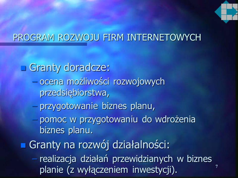 7 PROGRAM ROZWOJU FIRM INTERNETOWYCH n Granty doradcze: –ocena możliwości rozwojowych przedsiębiorstwa, –przygotowanie biznes planu, –pomoc w przygotowaniu do wdrożenia biznes planu.