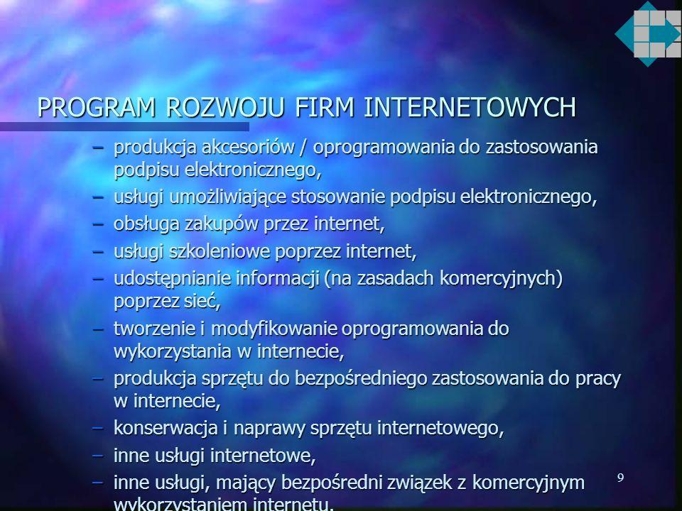 9 PROGRAM ROZWOJU FIRM INTERNETOWYCH –produkcja akcesoriów / oprogramowania do zastosowania podpisu elektronicznego, –usługi umożliwiające stosowanie podpisu elektronicznego, –obsługa zakupów przez internet, –usługi szkoleniowe poprzez internet, –udostępnianie informacji (na zasadach komercyjnych) poprzez sieć, –tworzenie i modyfikowanie oprogramowania do wykorzystania w internecie, –produkcja sprzętu do bezpośredniego zastosowania do pracy w internecie, –konserwacja i naprawy sprzętu internetowego, –inne usługi internetowe, –inne usługi, mający bezpośredni związek z komercyjnym wykorzystaniem internetu.