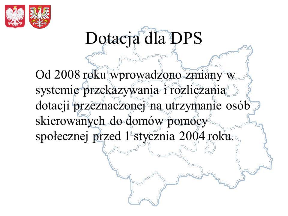 Dotacja dla DPS Od 2008 roku wprowadzono zmiany w systemie przekazywania i rozliczania dotacji przeznaczonej na utrzymanie osób skierowanych do domów