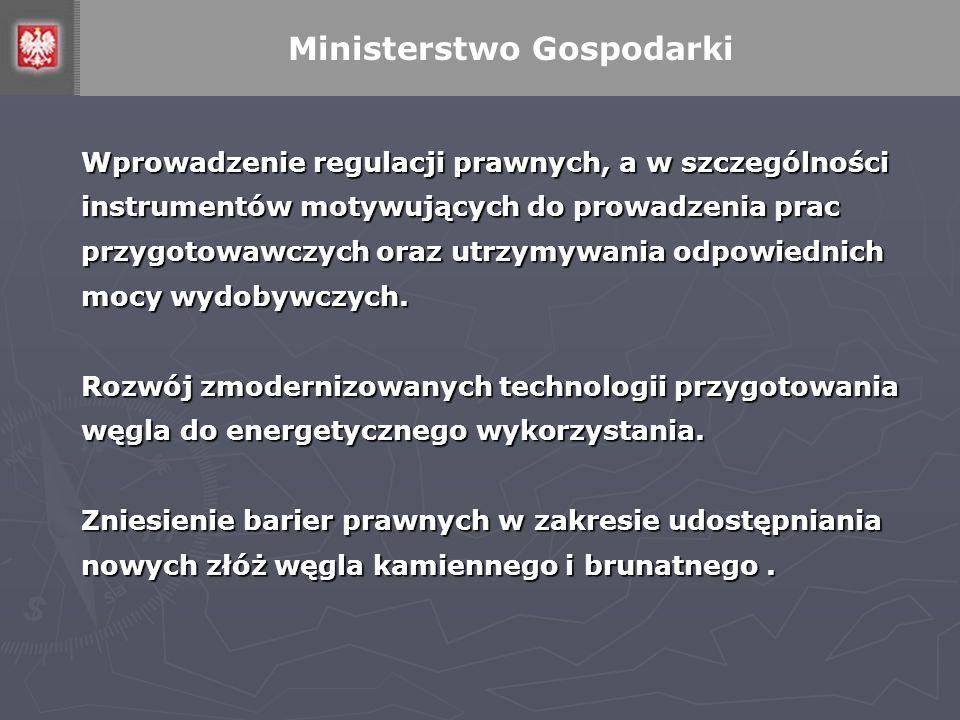 Wprowadzenie regulacji prawnych, a w szczególności instrumentów motywujących do prowadzenia prac przygotowawczych oraz utrzymywania odpowiednich mocy wydobywczych.