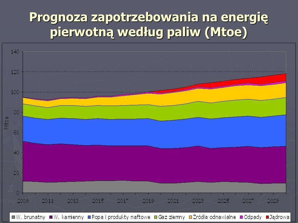 Prognoza zapotrzebowania na energię pierwotną według paliw (Mtoe)