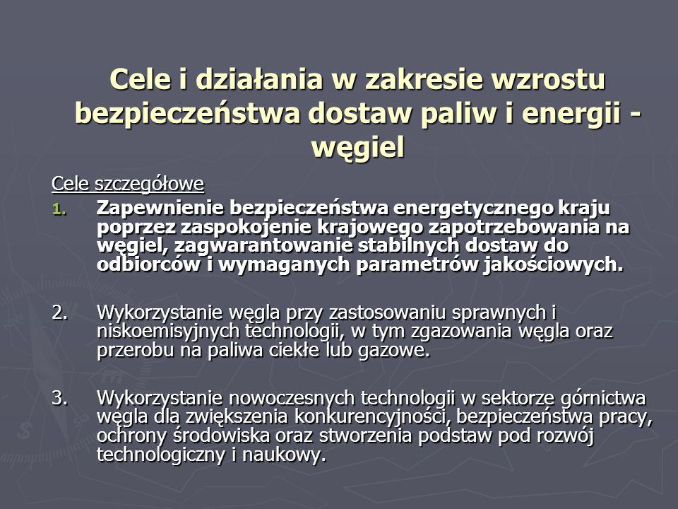 Cele i działania w zakresie wzrostu bezpieczeństwa dostaw paliw i energii - węgiel Cele szczegółowe 1. Zapewnienie bezpieczeństwa energetycznego kraju
