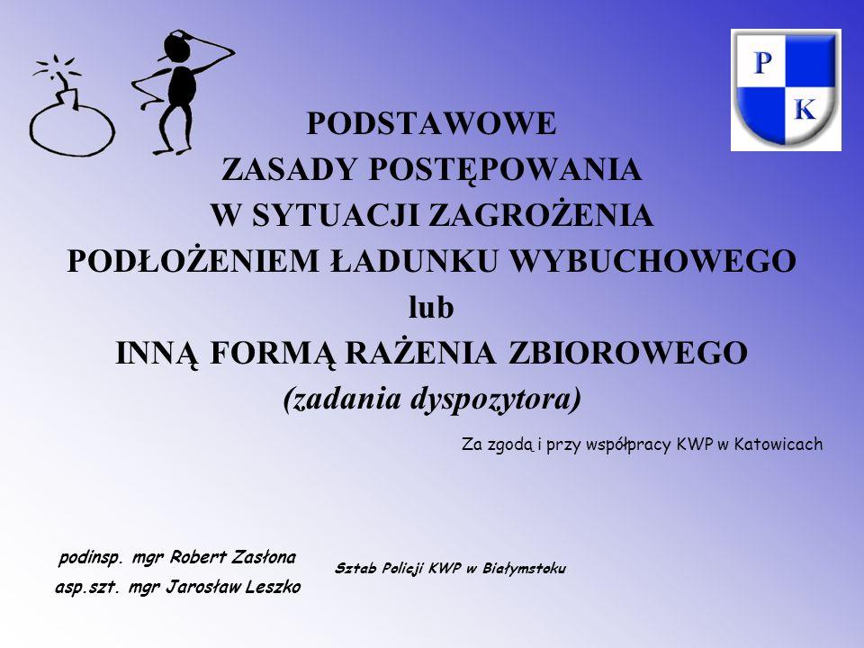 PODSTAWOWE ZASADY POSTĘPOWANIA W SYTUACJI ZAGROŻENIA PODŁOŻENIEM ŁADUNKU WYBUCHOWEGO lub INNĄ FORMĄ RAŻENIA ZBIOROWEGO (zadania dyspozytora) Za zgodą i przy współpracy KWP w Katowicach podinsp.