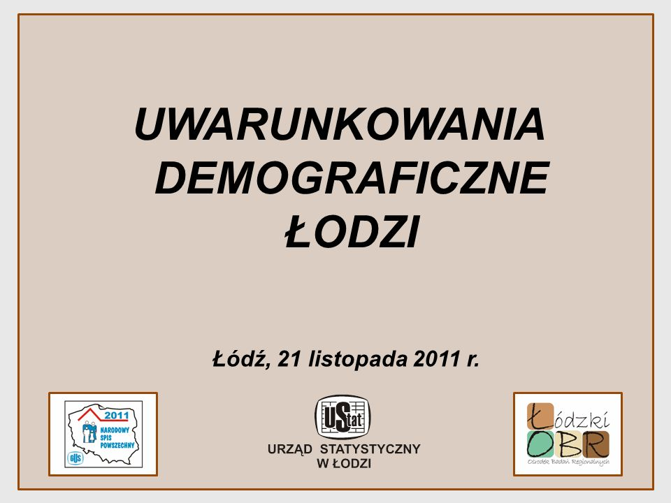 UWARUNKOWANIA DEMOGRAFICZNE ŁODZI Łódź, 21 listopada 2011 r.