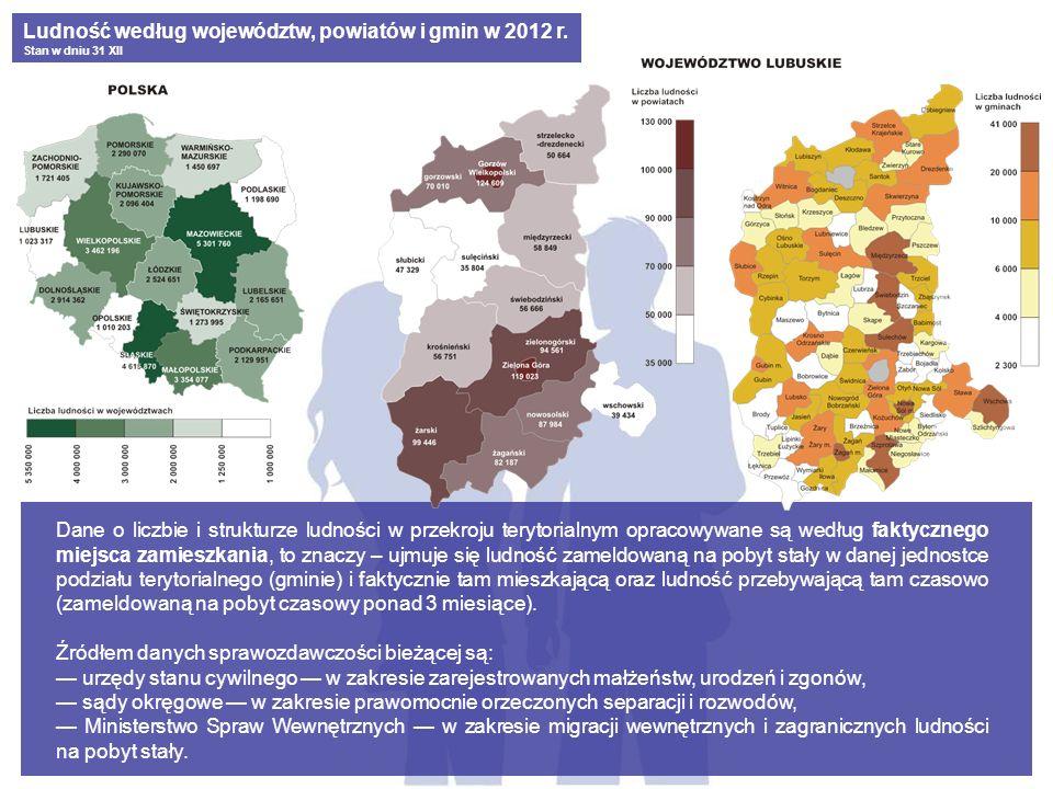 Dane o liczbie i strukturze ludności w przekroju terytorialnym opracowywane są według faktycznego miejsca zamieszkania, to znaczy – ujmuje się ludność