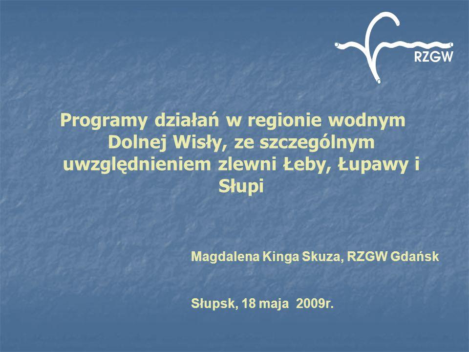 Programy działań w regionie wodnym Dolnej Wisły, ze szczególnym uwzględnieniem zlewni Łeby, Łupawy i Słupi Magdalena Kinga Skuza, RZGW Gdańsk Słupsk,