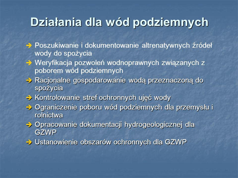 Działania dla wód podziemnych Poszukiwanie i dokumentowanie altrenatywnych źródeł wody do spożycia Weryfikacja pozwoleń wodnoprawnych związanych z pob