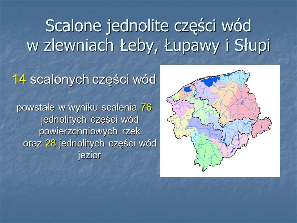 Scalone jednolite części wód w zlewniach Łeby, Łupawy i Słupi 14 scalonych części wód powstałe w wyniku scalenia 76 jednolitych części wód powierzchni