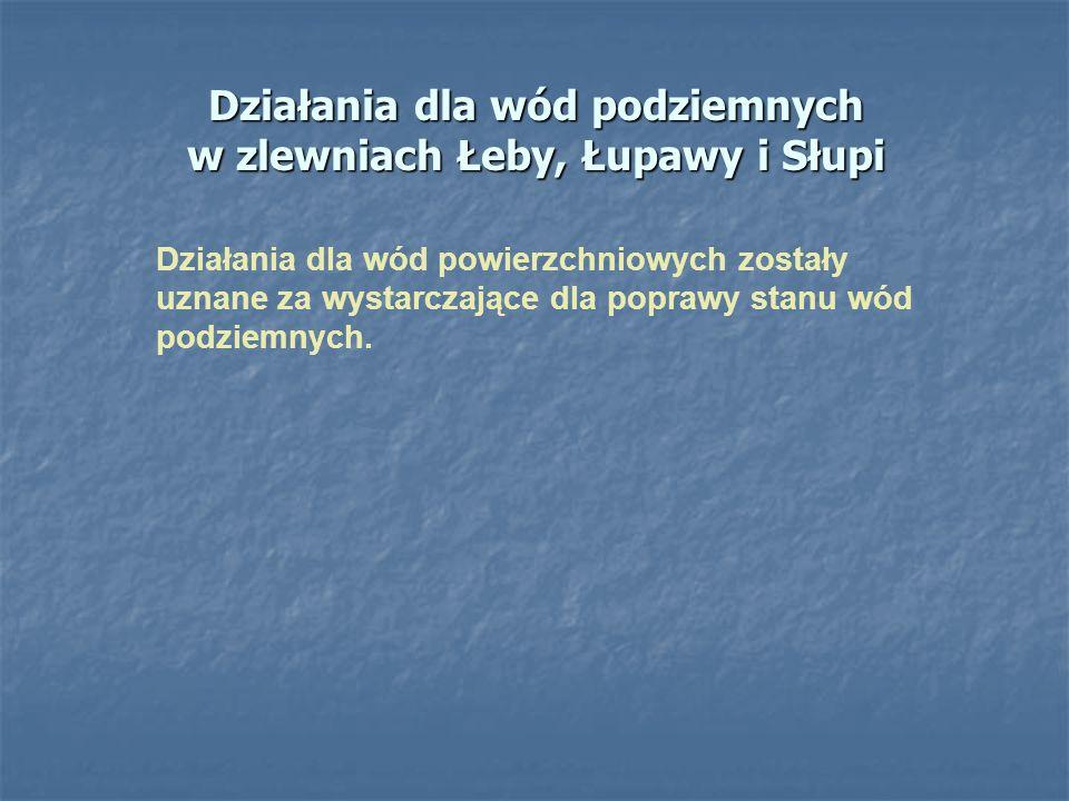 Działania dla wód podziemnych w zlewniach Łeby, Łupawy i Słupi Działania dla wód powierzchniowych zostały uznane za wystarczające dla poprawy stanu wó