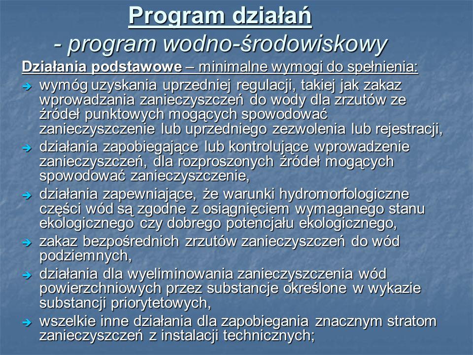 Program działań - program wodno-środowiskowy Działania podstawowe – minimalne wymogi do spełnienia: wymóg uzyskania uprzedniej regulacji, takiej jak z