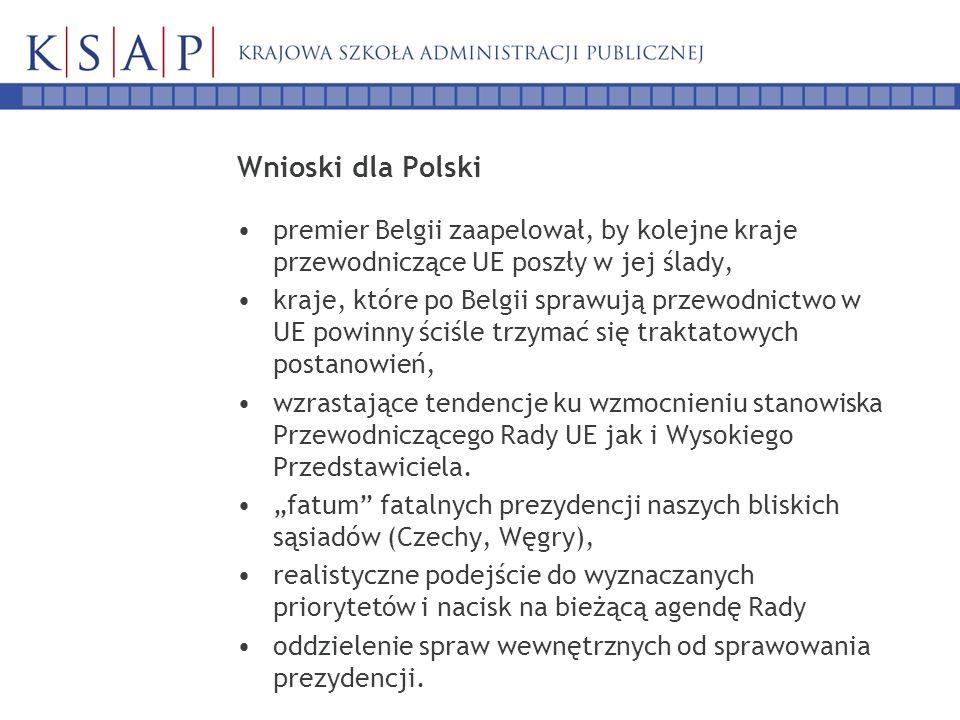 Wnioski dla Polski premier Belgii zaapelował, by kolejne kraje przewodniczące UE poszły w jej ślady, kraje, które po Belgii sprawują przewodnictwo w UE powinny ściśle trzymać się traktatowych postanowień, wzrastające tendencje ku wzmocnieniu stanowiska Przewodniczącego Rady UE jak i Wysokiego Przedstawiciela.