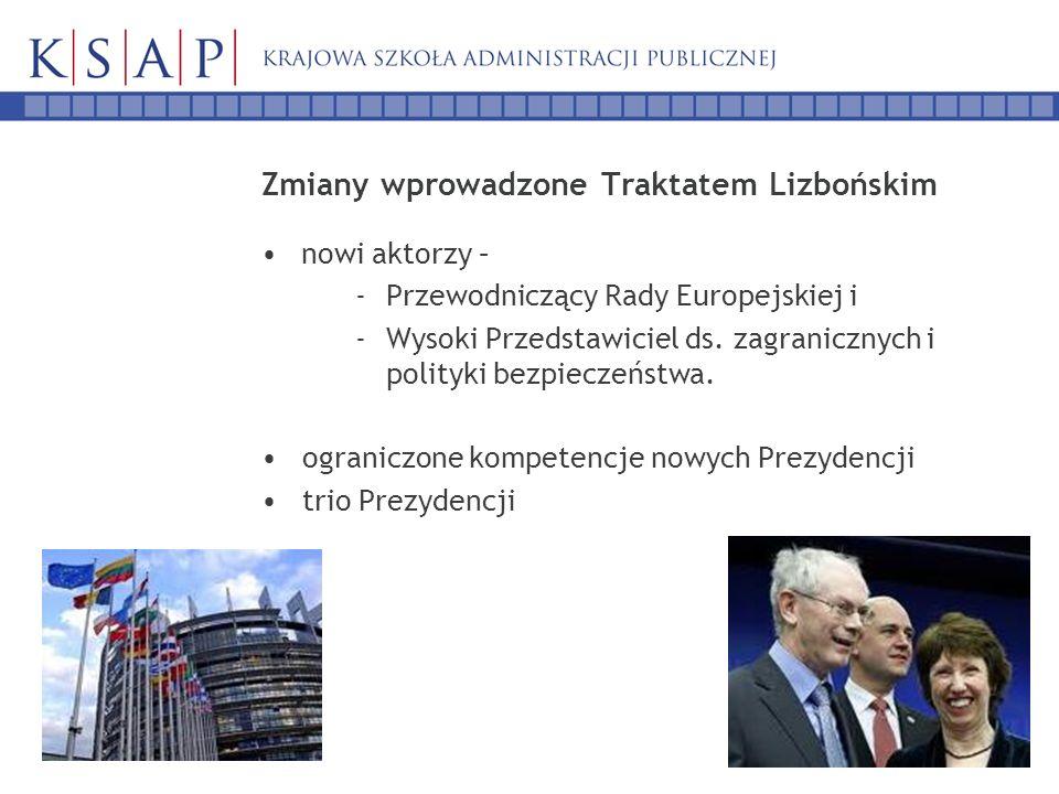 Zmiany wprowadzone Traktatem Lizbońskim nowi aktorzy – -Przewodniczący Rady Europejskiej i -Wysoki Przedstawiciel ds. zagranicznych i polityki bezpiec