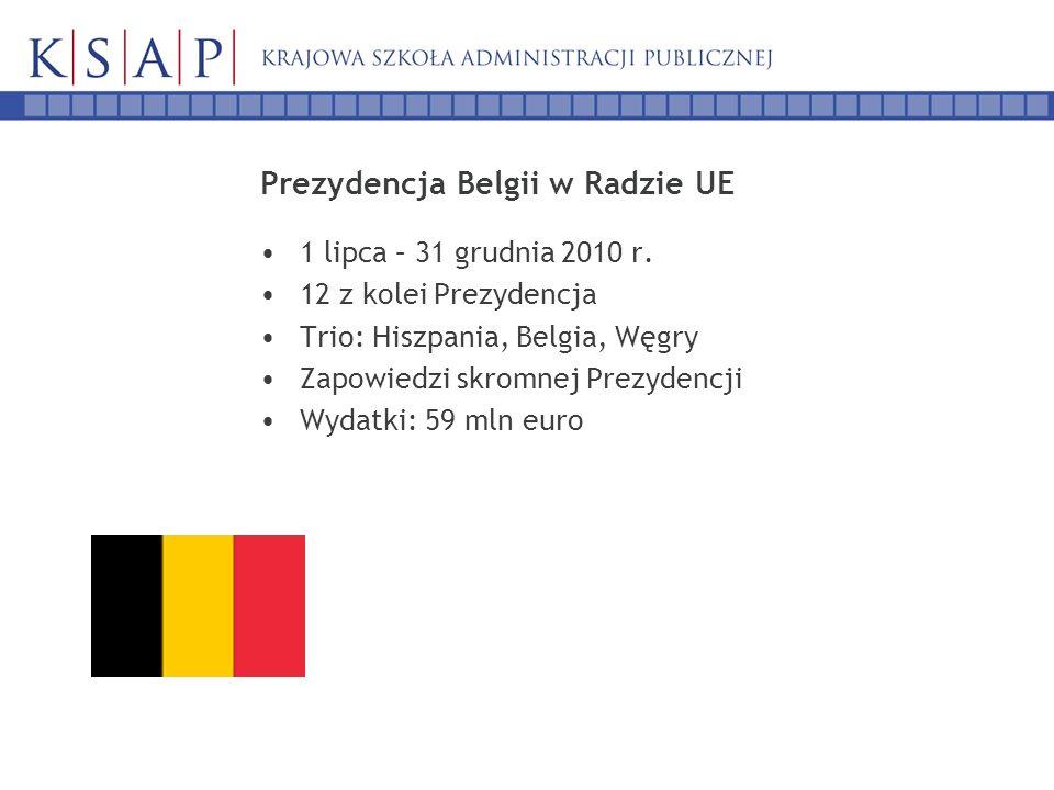 Prezydencja Belgii w Radzie UE 1 lipca – 31 grudnia 2010 r. 12 z kolei Prezydencja Trio: Hiszpania, Belgia, Węgry Zapowiedzi skromnej Prezydencji Wyda