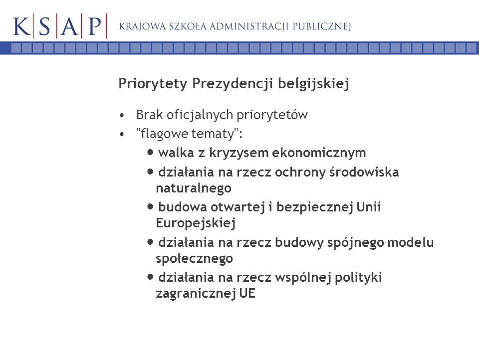 Priorytety Prezydencji belgijskiej Brak oficjalnych priorytetów