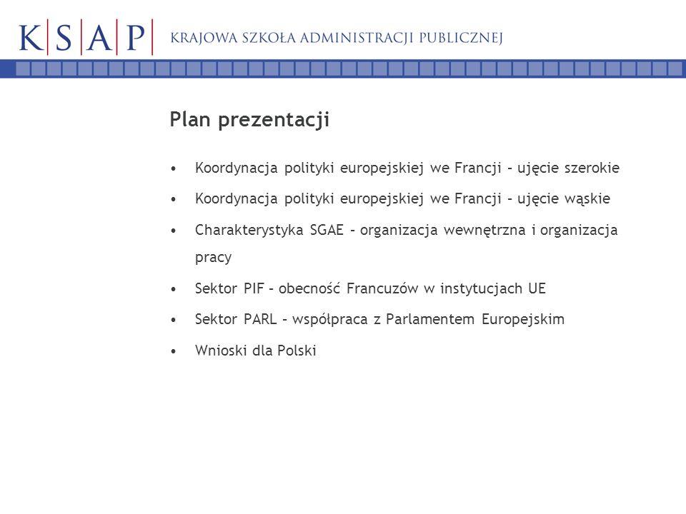 Plan prezentacji Koordynacja polityki europejskiej we Francji – ujęcie szerokie Koordynacja polityki europejskiej we Francji – ujęcie wąskie Charakterystyka SGAE – organizacja wewnętrzna i organizacja pracy Sektor PIF – obecność Francuzów w instytucjach UE Sektor PARL – współpraca z Parlamentem Europejskim Wnioski dla Polski