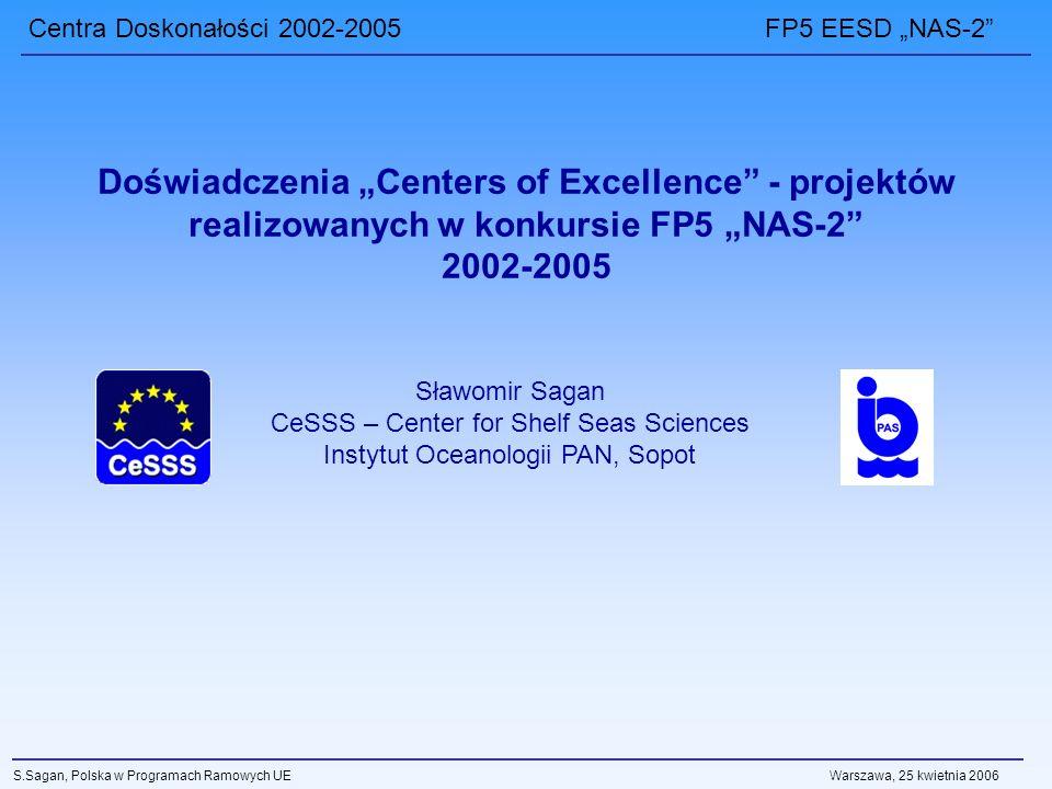 Centra Doskonałości 2002-2005 FP5 EESD NAS-2 S.Sagan, Polska w Programach Ramowych UE Warszawa, 25 kwietnia 2006 Doświadczenia Centers of Excellence - projektów realizowanych w konkursie FP5 NAS-2 2002-2005 Sławomir Sagan CeSSS – Center for Shelf Seas Sciences Instytut Oceanologii PAN, Sopot
