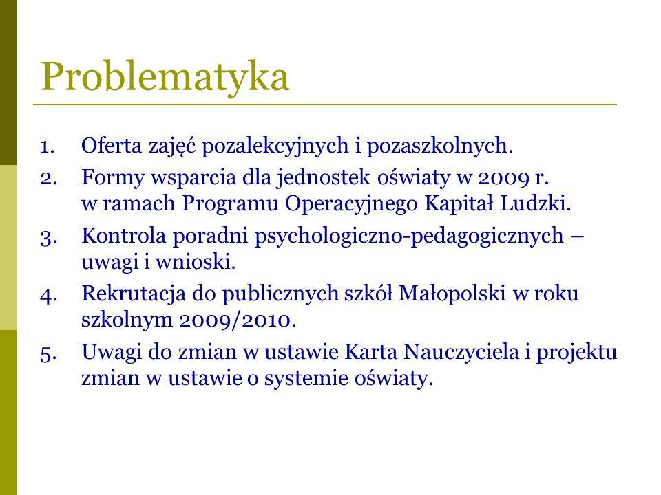 Problematyka 1.Oferta zajęć pozalekcyjnych i pozaszkolnych. 2.Formy wsparcia dla jednostek oświaty w 2009 r. w ramach Programu Operacyjnego Kapitał Lu