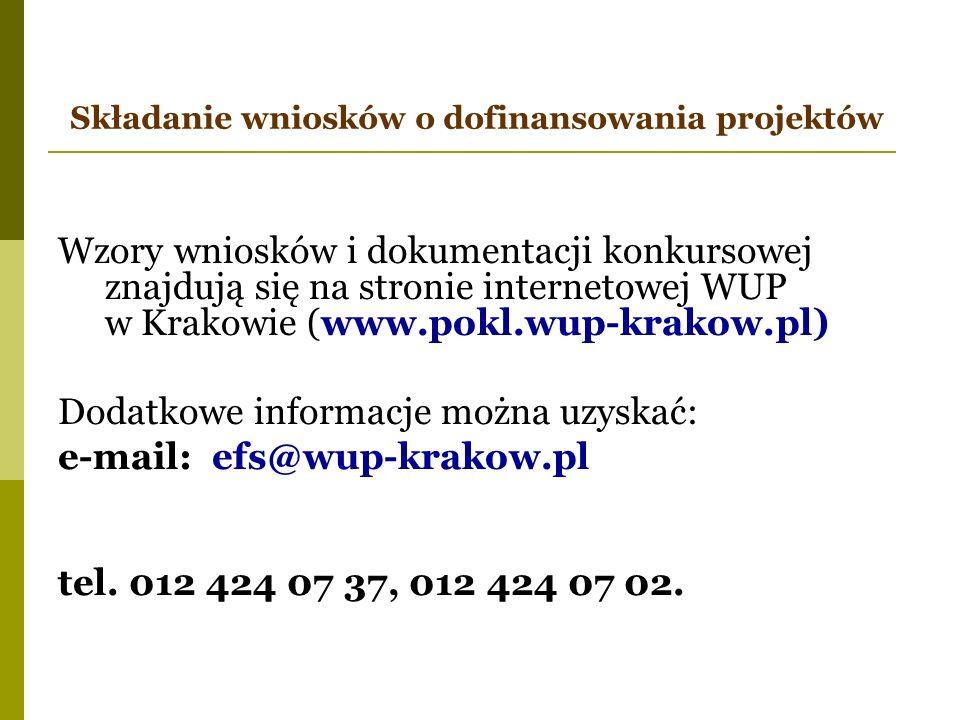 Składanie wniosków o dofinansowania projektów Wzory wniosków i dokumentacji konkursowej znajdują się na stronie internetowej WUP w Krakowie (www.pokl.
