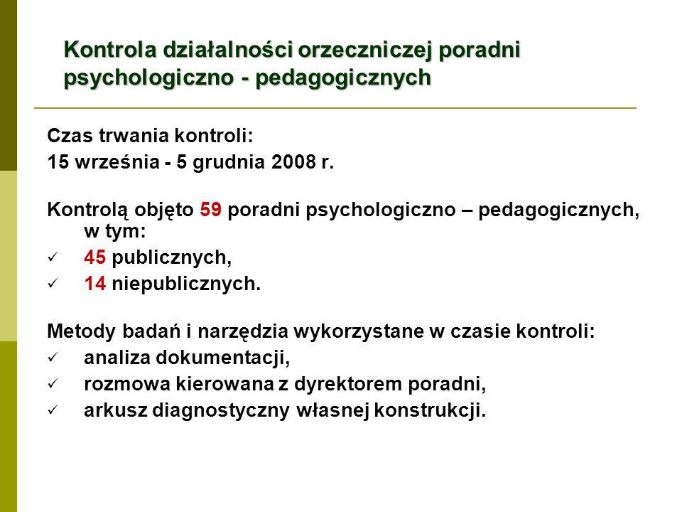 Kontrola działalności orzeczniczej poradni psychologiczno - pedagogicznych Czas trwania kontroli: 15 września - 5 grudnia 2008 r. Kontrolą objęto 59 p