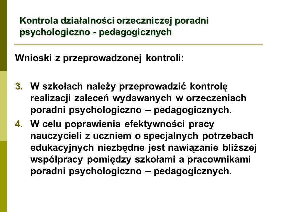 Kontrola działalności orzeczniczej poradni psychologiczno - pedagogicznych Wnioski z przeprowadzonej kontroli: 3.W szkołach należy przeprowadzić kontrolę realizacji zaleceń wydawanych w orzeczeniach poradni psychologiczno – pedagogicznych.