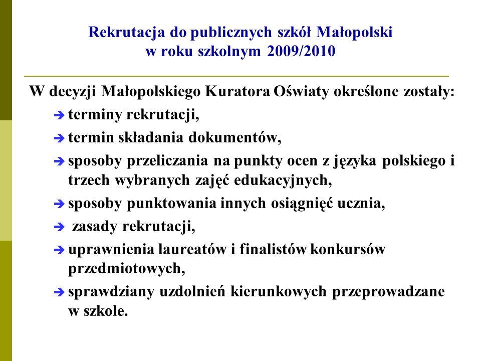 Rekrutacja do publicznych szkół Małopolski w roku szkolnym 2009/2010 W decyzji Małopolskiego Kuratora Oświaty określone zostały: terminy rekrutacji, t
