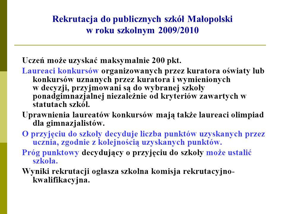 Rekrutacja do publicznych szkół Małopolski w roku szkolnym 2009/2010 Uczeń może uzyskać maksymalnie 200 pkt. Laureaci konkursów organizowanych przez k
