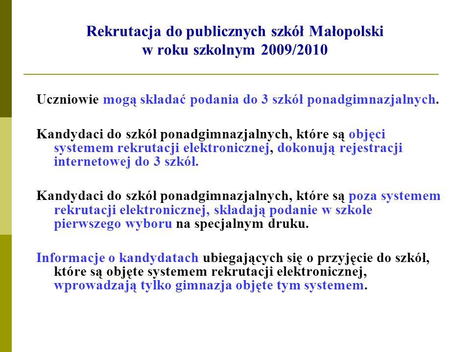 Rekrutacja do publicznych szkół Małopolski w roku szkolnym 2009/2010 Uczniowie mogą składać podania do 3 szkół ponadgimnazjalnych. Kandydaci do szkół