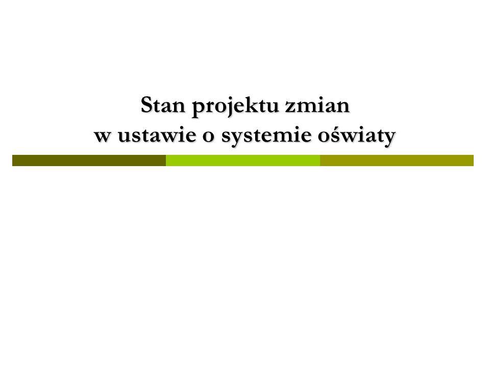Stan projektu zmian w ustawie o systemie oświaty