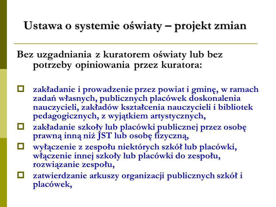 Ustawa o systemie oświaty – projekt zmian Bez uzgadniania z kuratorem oświaty lub bez potrzeby opiniowania przez kuratora: zakładanie i prowadzenie pr